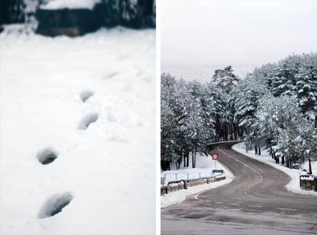 Fotografiar el invierno - pisadas en la nieve y paisaje nevado
